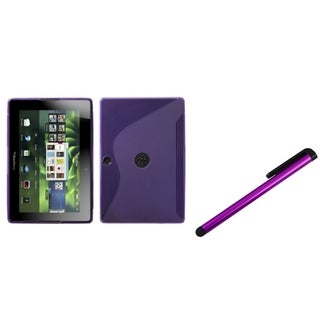 INSTEN Purple S-shape Phone Case Cover/ Purple Stylus for Blackberry Playbook