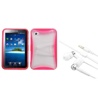 INSTEN Pink Tablet Case Cover/ Silver Headset for Samsung Galaxy Tab P1000