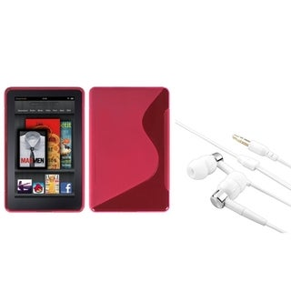INSTEN Hot Pink S-shape Phone Case Cover/ Silver Headset for Amazon Kindle Fire