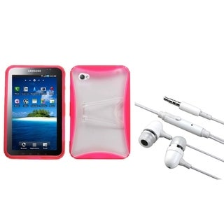 INSTEN Pink Tablet Case Cover/ Hands-free Headset for Samsung Galaxy Tab P1000