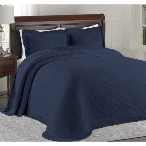 LaMont Home Woven Cotton Jacquard Bedspread with Fringe (Shams Not Included)