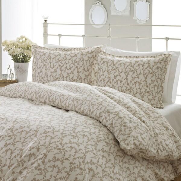 Laura Ashley Victoria 3-piece Flannel Duvet Cover Set