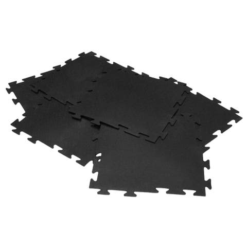 Rubber-Cal 'Armor-Lock Fitness' Interlocking 20-inch Square Rubber Gym Mats (Set of 8, Covers 22.22 Square Feet) - 20 x 20
