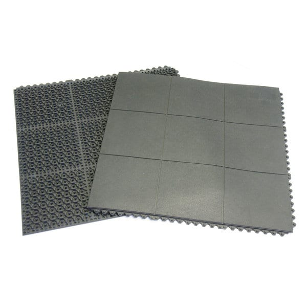 Rubber-Cal 'Revolution' 36-inch Square Black Rubber Gym Tiles (Set of 2, Covers 18 Square Feet)