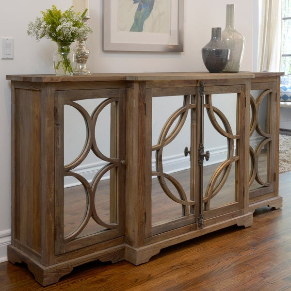 Amri Reclaimed Wood Mirrored 79-inch Sideboard by Kosas Home - Amri Reclaimed Wood Mirrored 79-inch Sideboard By Kosas Home