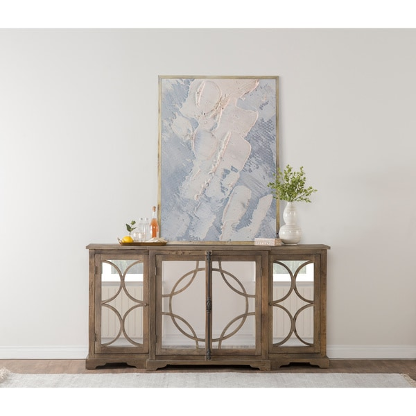 Amri Reclaimed Wood Mirrored 79-inch Sideboard by Kosas Home