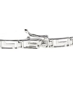 Mondevio Sterling Silver Greek Key Link Bracelet