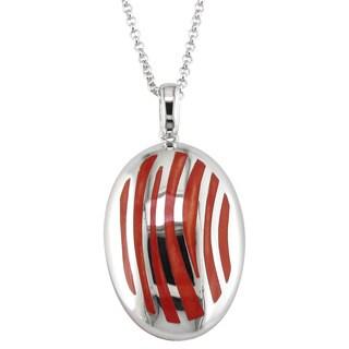 Sterling Silver Orange Resin Stripe Necklace