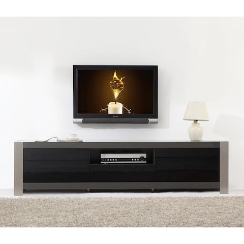 Ayla Grey High Gloss/ Stainless Steel IR-remote Compatible TV Stand