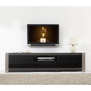 Link to Ayla Grey High Gloss/ Stainless Steel IR-remote Compatible TV Stand Similar Items in Entertainment Units