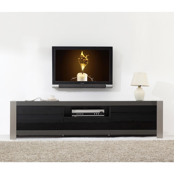 Ayla Grey High Gloss/ Stainless Steel IR-remote Compatible TV Stand. Opens flyout.