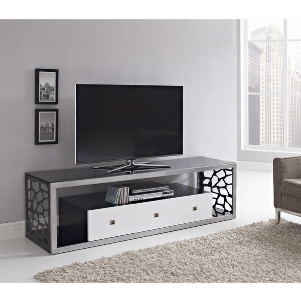 shop black glass modern 70 inch tv stand free shipping today 8228557. Black Bedroom Furniture Sets. Home Design Ideas