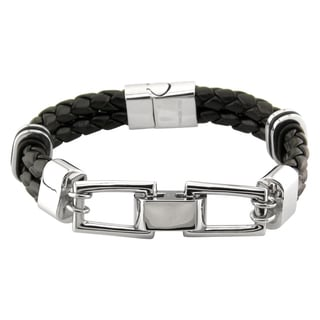 Stainless Steel Black Leather Gents Bracelet