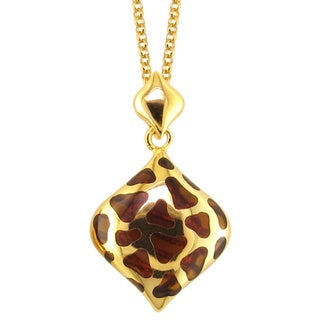 Yellow Goldplated and Brown Resin Necklace