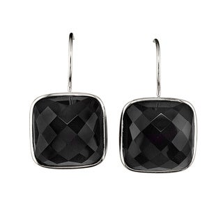 Sterling Silver Cushion-cut Black Onyx Earrings