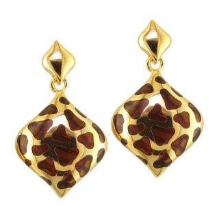 Yellow Goldplated Brown Resin Dangle Earrings
