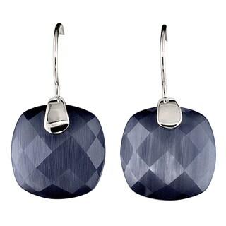 Sterling Silver Cushion-cut Cat's Eye Obsidian Earrings
