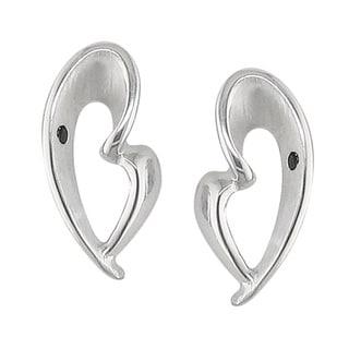 Sterling Silver 1/5ct TDW Black Diamond Heart Earrings (H, I1)