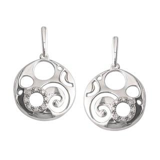 Sterling Silver 1/8ct TDW Diamond Swirl Earrings (H, I1)