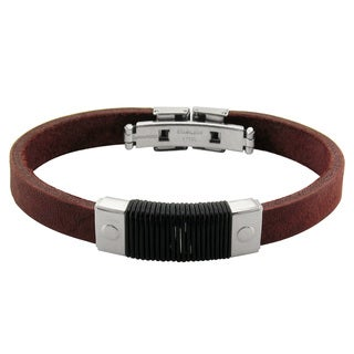Stainless Steel Brown Leather Gents Bracelet