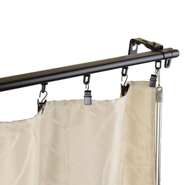 Instyledesign Regal Black Adjustable Curtain Track Set