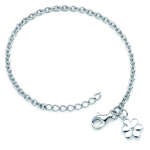 Little Diva Diamonds Girl's 925 Sterling Silver .01ct TDW Diamond Accent Flower Bracelet