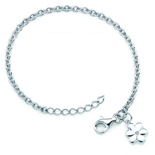 Little Diva Diamonds Girl's 925 Sterling Silver .01ct TDW Diamond Accent Flower Bracelet