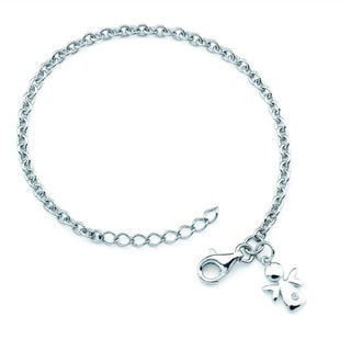 Little Diva Diamonds Silver Children's Diamond Accent Angel Bracelet