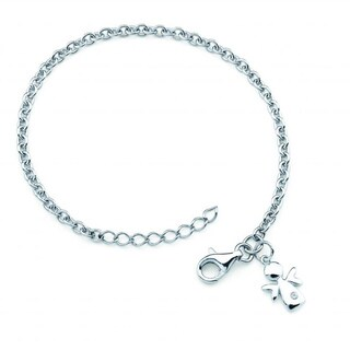 Little Diva Diamonds Girl's 925 Sterling Silver .01ct TDW Diamond Accent Angel Bracelet