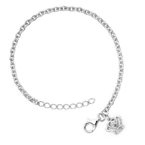Little Diva Diamonds Girl's 925 Sterling Silver .01ct TDW Diamond Accent Crown Bracelet