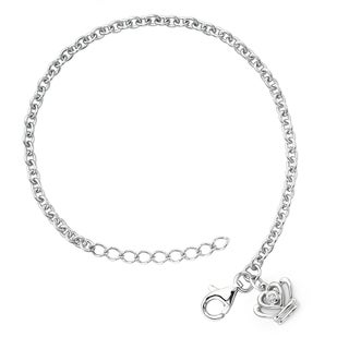 Little Diva Diamonds Girl's 925 Sterling Silver .01ct TDW Diamond Accent Crown Bracelet