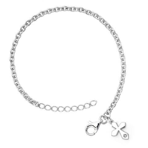 Little Diva Diamonds Girl's 925 Sterling Silver .01ct TDW Diamond Accent Cross Bracelet