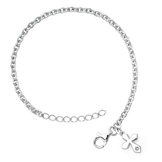 Little Diva Diamonds Silver Children's Diamond Accent Cross Bracelet