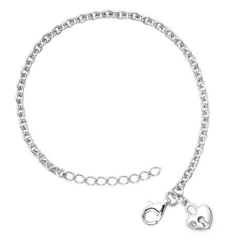 Little Diva Diamonds Girl's 925 Sterling Silver .01ct TDW Diamond Accent Heart Lock Bracelet