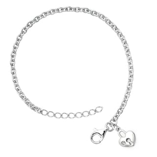 Little Diva Diamonds Silver Children's Diamond Accent Heart Lock Bracelet