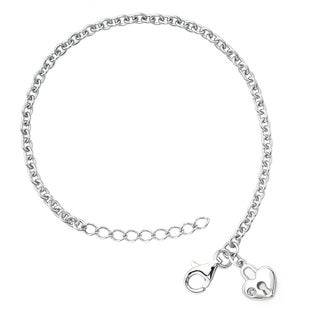 Little Diva Diamonds Girl's 925 Sterling Silver .01ct TDW Diamond Accent Heart Lock Bracelet - White