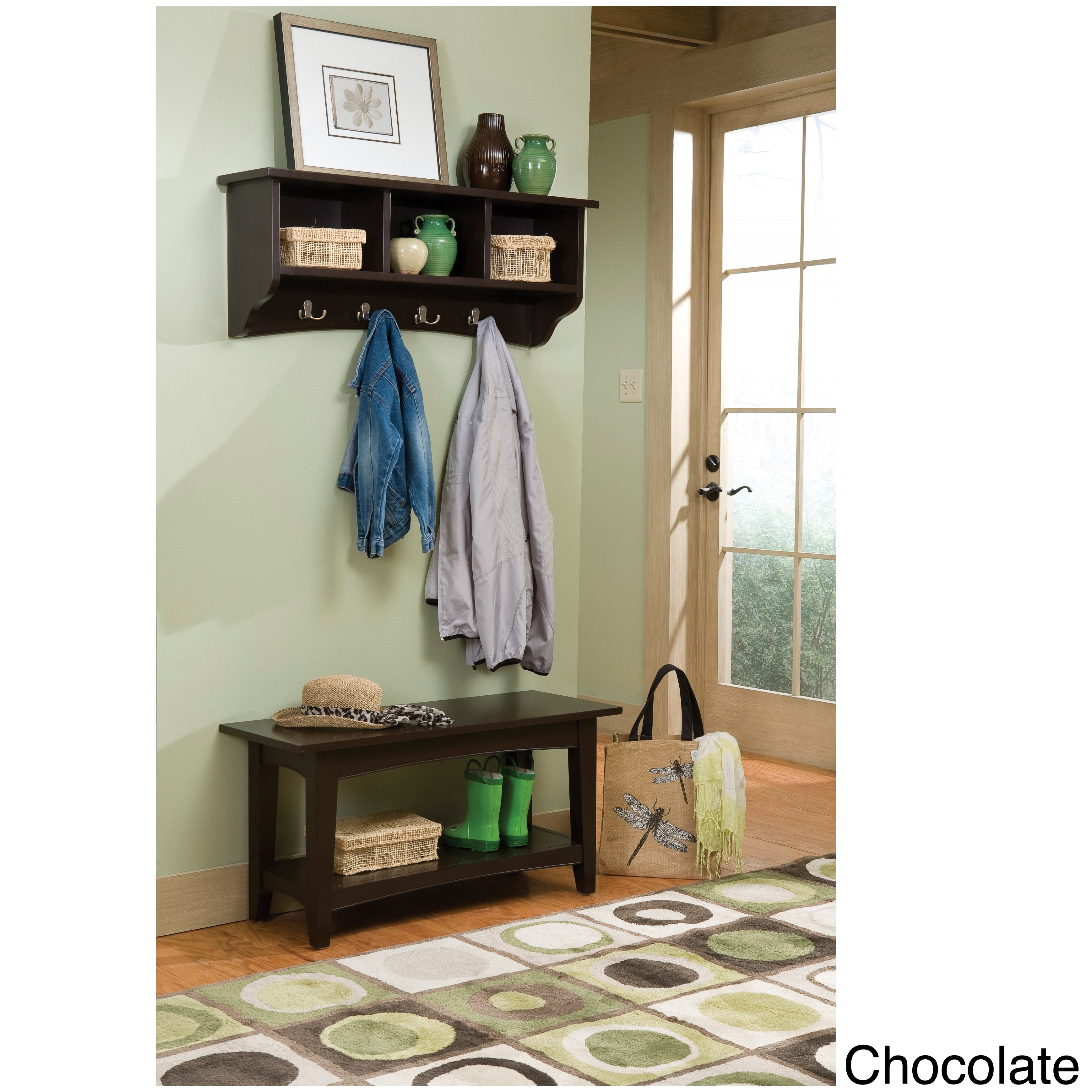 Copper Grove Daintree Storage Coat Hook And Bench With Shelf Set