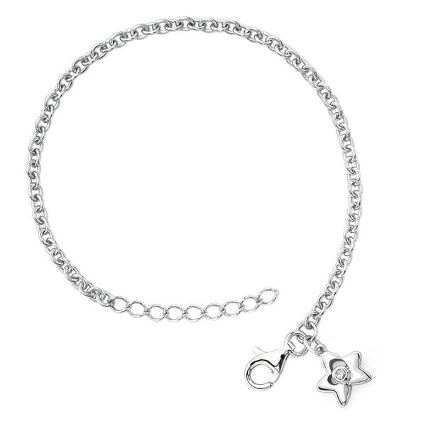 Little Diva Diamonds 925 Sterling Silver  Children's Diamond Accent Star Bracelet