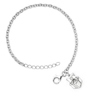 Little Diva Diamonds Girl's 925 Sterling Silver .01ct TDW Diamond Accent Present Bracelet - White|https://ak1.ostkcdn.com/images/products/8228793/P15558523.jpg?impolicy=medium