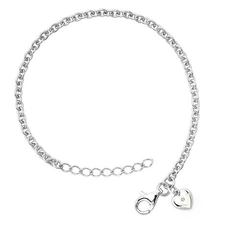 .925 Sterling Silver Diamond Accent Heart Charm Bracelet for Girls (I Color, I1 Clarity)