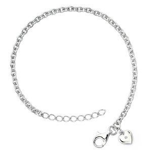 Little Diva Diamonds Girl's 925 Sterling Silver .01ct TDW Diamond Accent Heart Bracelet