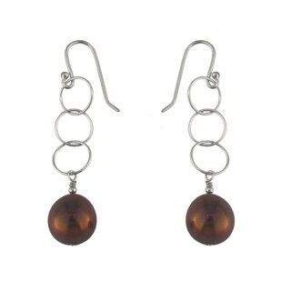 Silver Brown Dyed Pearl Dangle Earrings