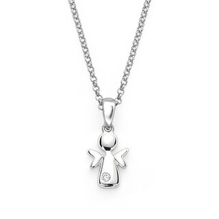 Little Diva Diamonds Girl's 925 Sterling Silver .01ct TDW Angel Pendant w/ Chain
