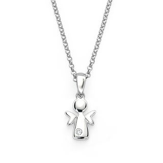 Little Diva Diamonds Girl's 925 Sterling Silver .01ct TDW Angel Pendant w/ Chain - N/A