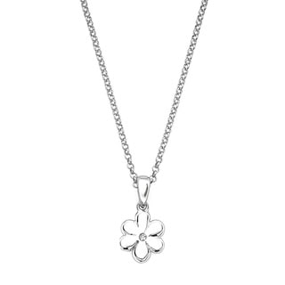 Little Diva Diamonds Silver Children's Diamond Accent Flower Necklace