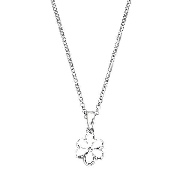 Little Diva Diamonds 925 Sterling Silver Children's Diamond Accent Flower Pendant Necklace