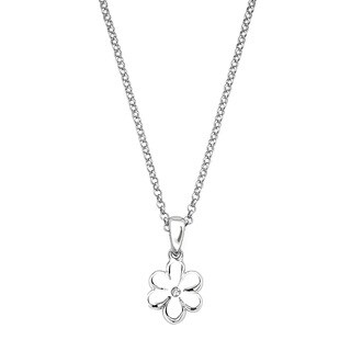 Little Diva Diamonds Girl's 925 Sterling Silver .01ct TDW Diamond Accent Flower Pendant w/ Chain