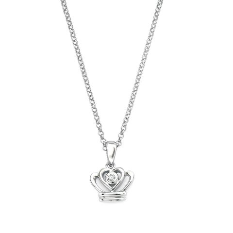 Little Diva Diamonds Girl's 925 Sterling Silver .01ct TDW Diamond Accent Crown Pendant w/ Chain - N/A