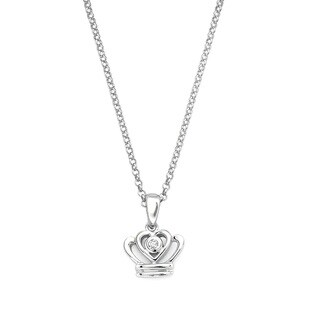 Little Diva Diamonds Girl's 925 Sterling Silver .01ct TDW Diamond Accent Crown Pendant w/ Chain
