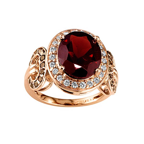 14k Rose Gold Garnet and 5/8ct TDW White and Brown Diamond Ring (H, SI3)